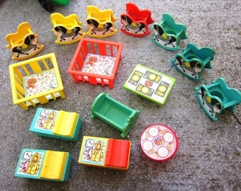 Vintage Lot Fisher Price Little People Furniture Rocking Horses