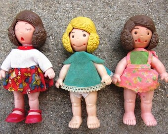 Lot 3 Uneeda Doll Co. 1973 Thum-Things Face Change Dolls