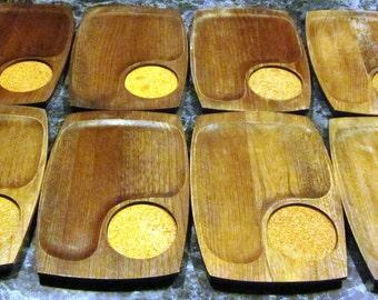 1970s Set of 8 Walnut Wood Snack Coaster Trays