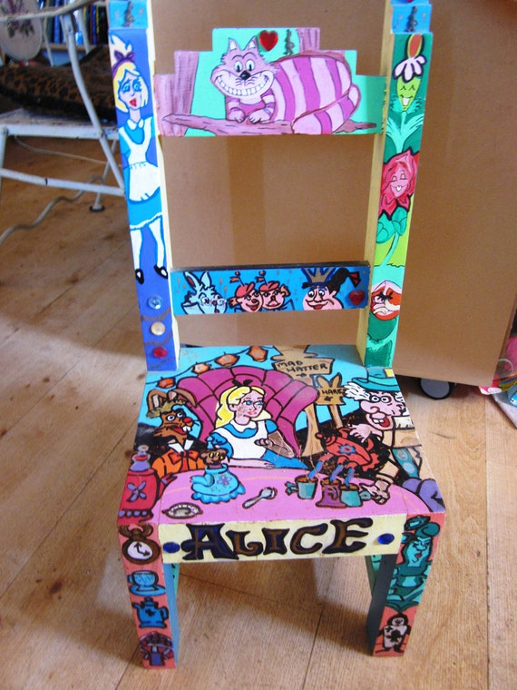 Items Similar To Handpainted Wooden Alice In Wonderland