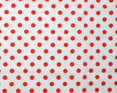 """SALE White Red Polka Dot Quilting Fabric - 34"""" End of Bolt"""