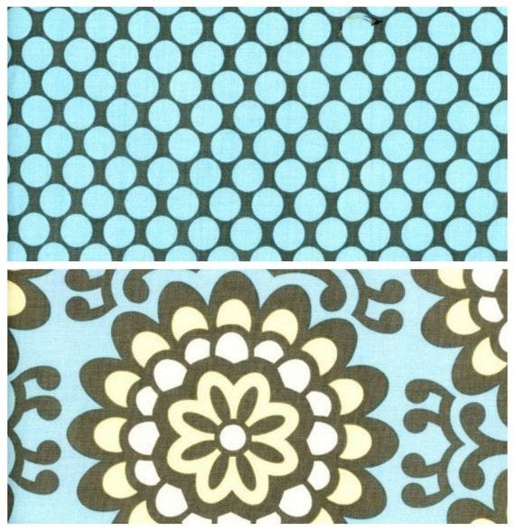Amy Butler Fabric -  Lotus Collection - Wallflower Sky / Full Moon Polka Dot Slate - Half Yard Bundle