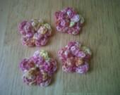 4 pk Crocheted Double-layer Flowers in Skyward Corona (a Hand-dye...yarn)