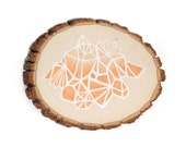 faceted Mountain abstract / Ombré / geometric / rustic modern wall art / tree bark orange peach