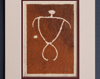 Man with Dot - Hawaiian Petroglyph Design  on Tapa Cloth - Matted and READY TO FRAME