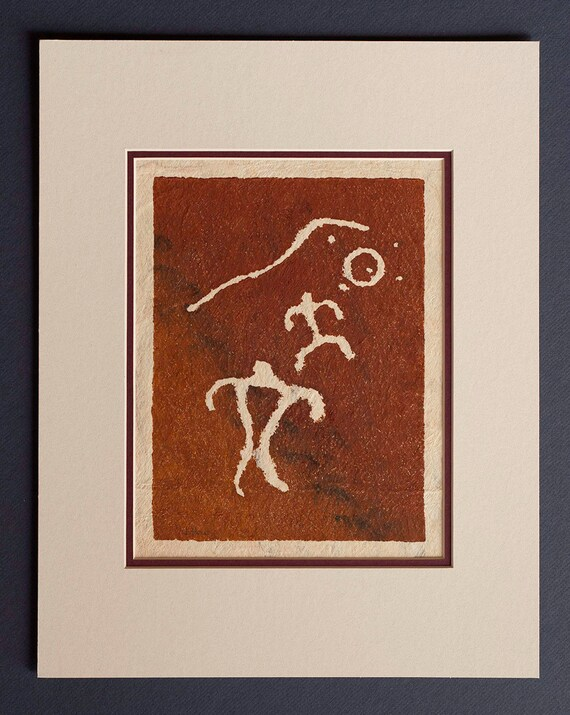 Hiker - Hawaiian Petroglyph Design  on Tapa Cloth - Matted and READY TO FRAME