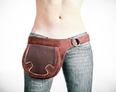 Brown leather bags for women, leather cross body bags, leather belt pouch