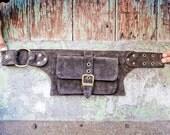 Men   leather bag in brown, belt pouch, hip bag, utility belt