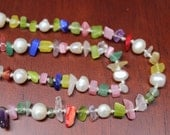Handknotted Fresh Water Pearl and Gemstone Chip Bead Necklace - Multicolored