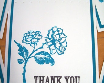 Teal Rose Thank You Cards