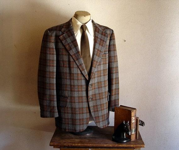 1970s Plaid Suit Jacket Super Mod 70s Brown & Gray Plaid Mens Vintage Blazer / Sport Coat by Glenshire - Size 46-48 (XL)