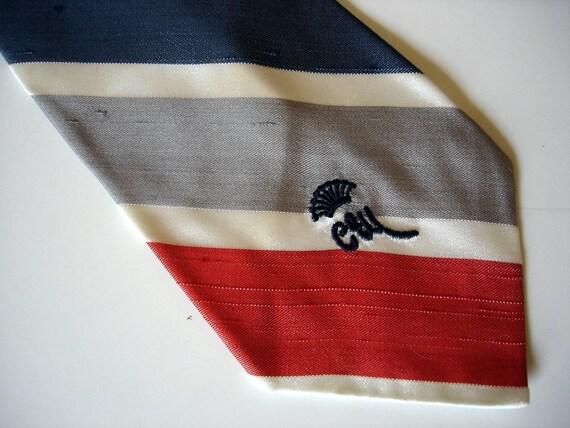 70s COUNTESS MARA Tie Mens Vintage Red, White, Blue & Gray Striped Necktie by Countess Mara, New York