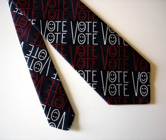 1970s VOTE Necktie Wide Disco Era Red, White & Blue Mens Vintage Tie with Vote and Smiley Face Designs, Awesome.