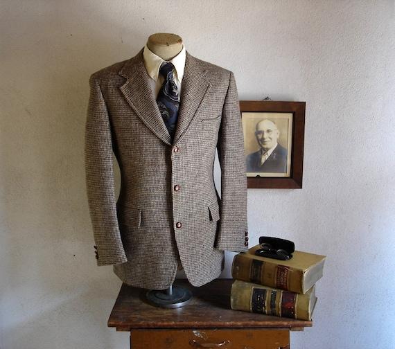 1960s Harris Tweed Mod 3 Button Mens Suit Jacket Vintage 100