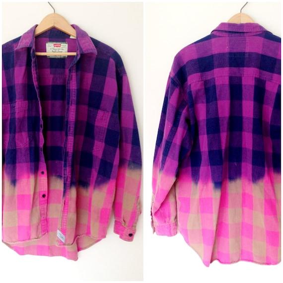 Vintage Levis Flannel Bleached - Purple & Pink