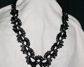 Handbeaded Black Lacey Design Necklace, 19 Inches, Soft and Supple, Comfy to Wear