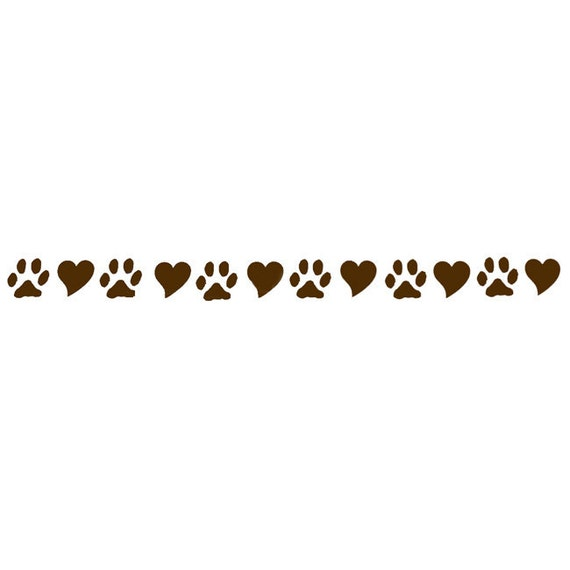 Dog Lover Paws And Hearts Chocolate Brown Vinyl Decal Wall