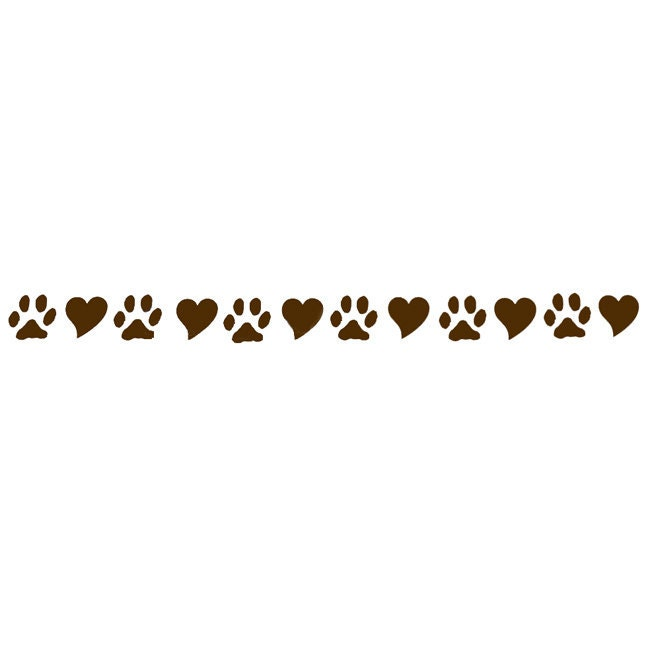 Dog Lover Paws and Hearts Chocolate Brown Vinyl by sookiedog