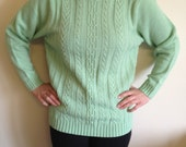 Vegan Mint Green Patterned Sweater Size S/M