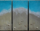 "Shoreline/Beach Paintings - Real Shells & Sand ""Heaven Can Wait"""