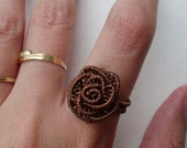Copper Wire Wrapped Rose Ring