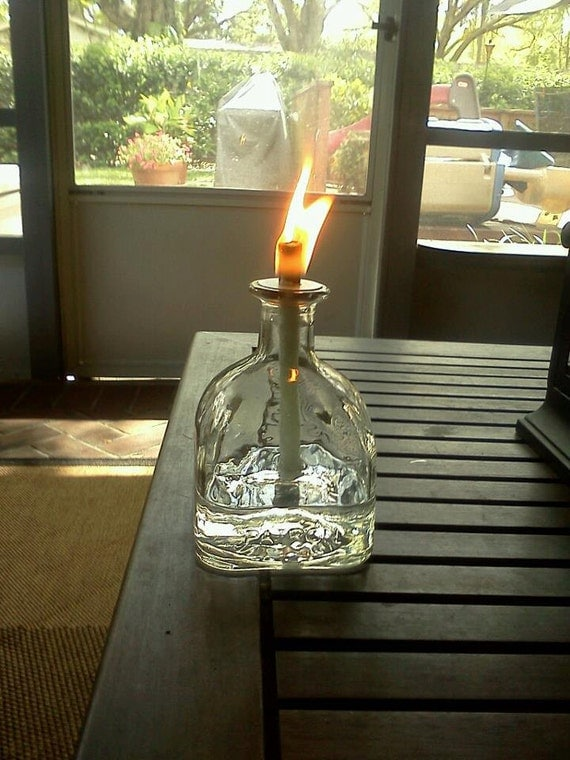 Glass Oil Lamp Patron Bottle Oil Lamp By Bspence3 On Etsy