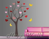Wall Decal Vinyl Removable Home Decor Sticker - Heart Leaves Love Tree w/ Butterflies - HW029