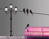 Bird Wall Decal, Vinyl Bird Decal Sticker, Vinyl Removable Home Decor, Light Pole with Birds on Wire