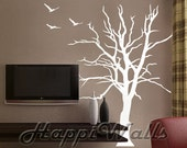 Wall Decal Vinyl Removable Home Decor Sticker - Dried Tree w/ 3 Birds - HW008