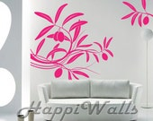 Wall Decal Vinyl Removable Home Decor Sticker- Floral Plant w/ fruit - HW003