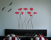 Wall Decal Vinyl Removable Home Decor Sticker - Red Flowers with 3 Birds - HW030