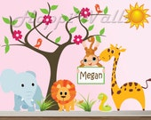Baby Children Wall Decal Vinyl Removable Decor Sticker - Nursery Jungle w/Tree & Animals - HW046