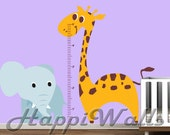 Baby Room Wall Decal Vinyl Removable Decor Sticker - Nursery Safari Growth Chart - HW050