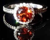Madeira Citrine & Diamonds 14K White Gold Stand Alone or Stackable Ring