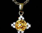 Stunning Large 7Ct Citrine, Diamonds & 14K Gold Necklade Pendant on Thick Chain