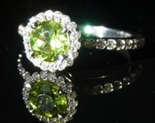 Green Peridot & Diamonds 18K White Gold Stand Alone or Stackable Ring with 3/4 Eternity Shank