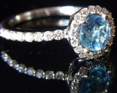 Blue Topaz, Diamonds & 18K White Gold Stand Alone or Stackable Ring with 3/4 Eternity Shank