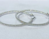 Diamonds IN and OUT & 18K White Gold 1.35 Inch Diameter Hoop Earrings