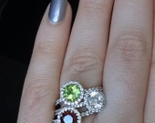 Stackable or Stand Alone Ring CZ surrounded by Diamonds in 18K Gold Setting