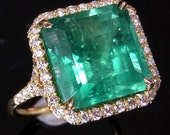 5.6ct Colombian Emerald Pave Set Diamonds 18k White, Yellow or Pink Gold Engagement or Cocktail Ring