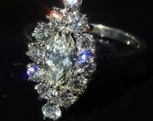 Diamonds & 14K White Gold Engagement or Cocktail Ring Marquise1.9ct