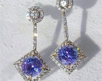 Vibrant Purple Blue Tanzanites Diamonds 18K White Gold Dangle Earrings 1.2 Inches Long