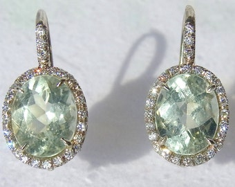 10cts Green Amethyst Diamonds and 18K White, Pink or Yellow Gold Dangle Earrings Layaway Available