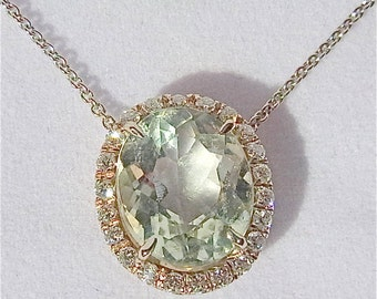 Stunning Large 7Ct Green Amethyst Diamonds 18K White Gold Pendant Chain Necklace
