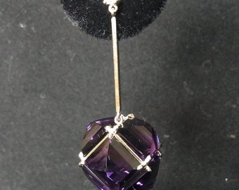 Contemporary 20ct Amethyst, Diamonds & 14K White Gold Stylized 3D Cube Dangle Earrings Layaway Available
