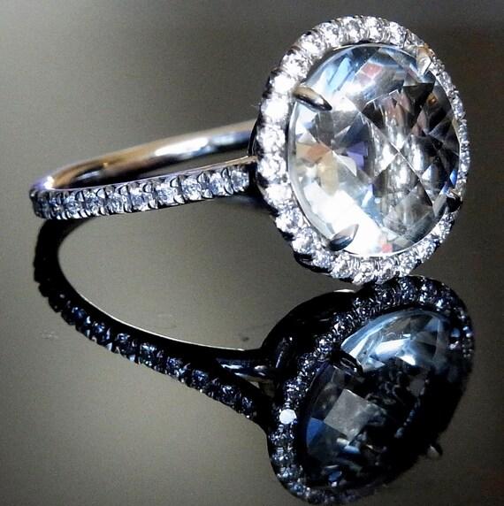 Stunning Large 9.5mm Green Amethyst , 1ct TDW Diamonds and Platinum Ring