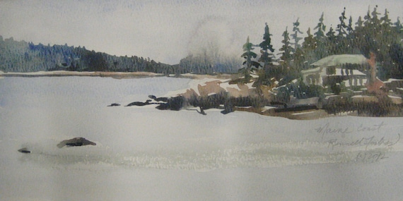 "Original watercolor ""Grey Day in Maine"" White house, green roof on water rocky coast pine trees"