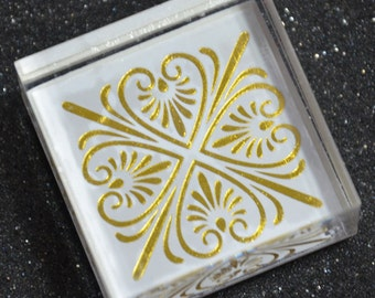 A Korean Crystal Square Rubber Stamp- Classical Motif