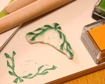 Corner -Handmade unmounted Rubber Stamp