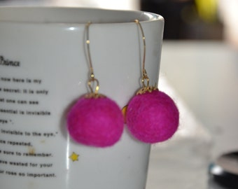 A Set of Pink Felt ball earrings with Caps